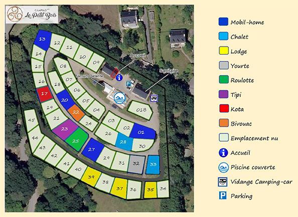 plan du Camping Le Petit Bois